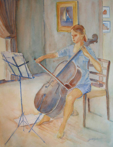 Cello Wall Art - Painting - Emma And Clifford by Jenny Armitage