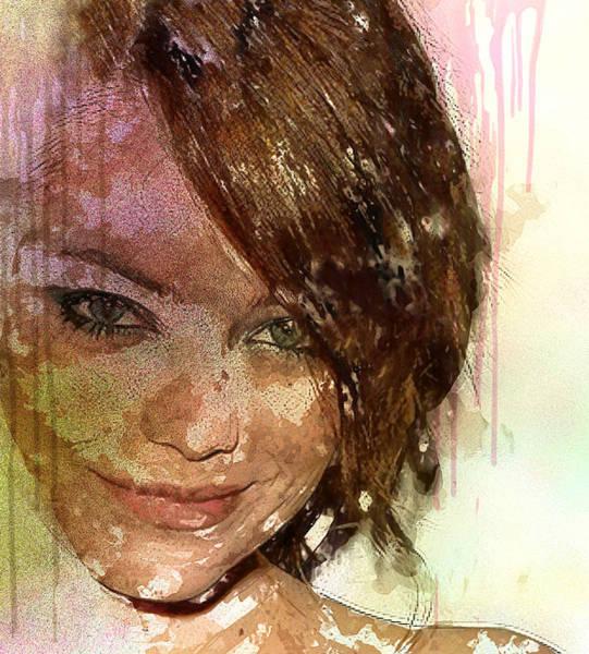 Wall Art - Digital Art - Emma Stone by Elena Kosvincheva