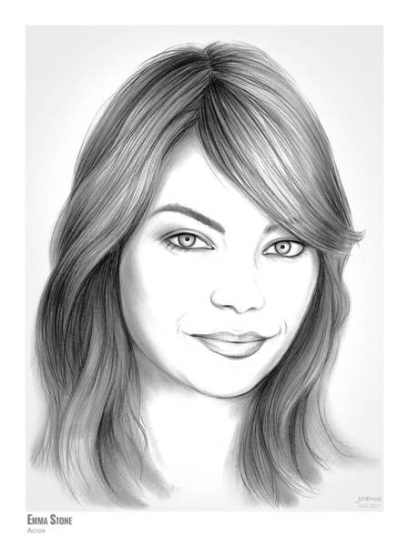 Actress Drawing - Emma Stone by Greg Joens