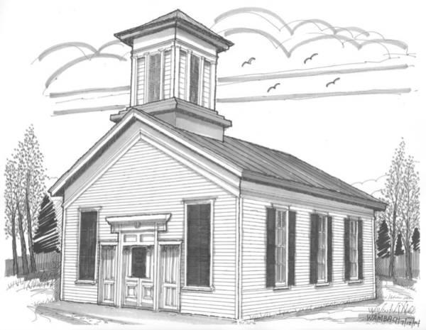 Drawing - Emmanuel Lutheran Church by Richard Wambach