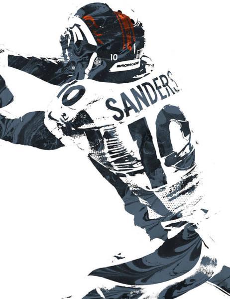 Emmanuel Wall Art - Mixed Media - Emmanuel Sanders Denver Broncos Pixel Art by Joe Hamilton
