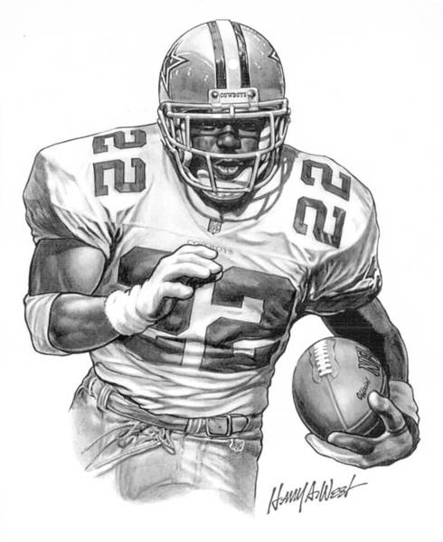 Football Drawing - Emmitt Smith by Harry West
