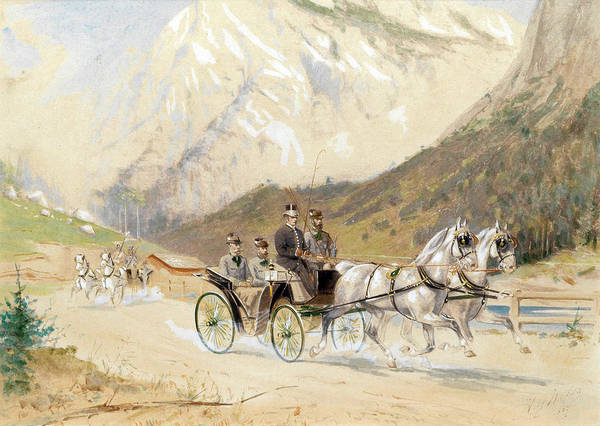 Wall Art - Drawing - Emperor Franz Joseph I With Crown Prince Rudolf On A Carriage Journey In The Salzkammergut by Heinrich Gottfried Wilda