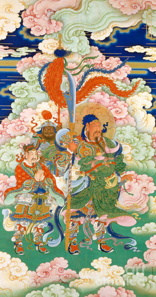 Tapestries Textiles Wall Art - Tapestry - Textile - Emperor Guan, Hanging Scroll by Chinese School