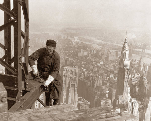 Wall Art - Photograph - Empire State Building Construction by War Is Hell Store