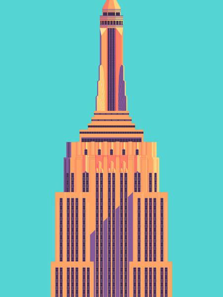 Wall Art - Digital Art - Empire State Building - Cyan by Ivan Krpan