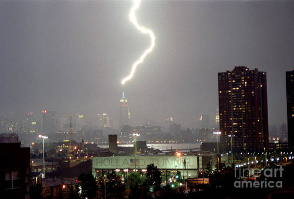 Holland Tunnel Wall Art - Photograph - Empire State Building Lightning Strike August Holland Tunnel  by Sean Gautreaux