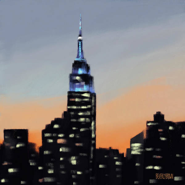 Urban Scene Painting - Empire State Building Ombre New York Skyline by Beverly Brown
