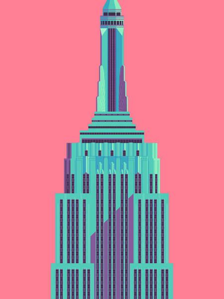 Wall Art - Digital Art - Empire State Building - Red by Ivan Krpan