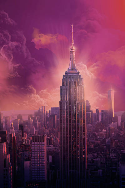 Empire State Building Digital Art - Empire State Building Sunset by Bekim Art