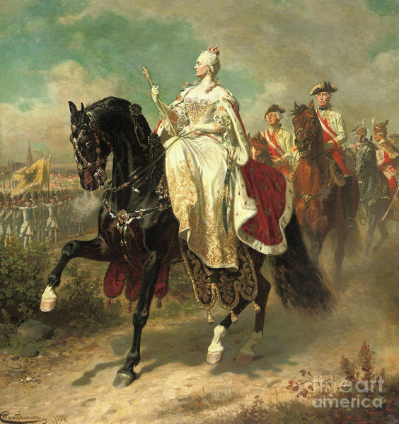 Wall Art - Painting - Empress Maria Theresia On Horseback Inspecting Austrian Troops by Wilhelm Camphausen