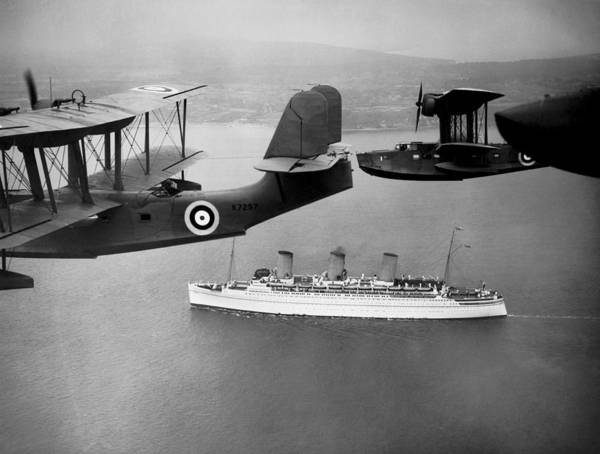 Steam Boat Photograph - Empress Of Britain Escorted by Underwood Archives