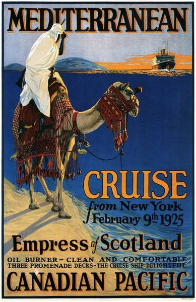 Wall Art - Mixed Media - Empress Of Scotland - Canadian Pacific - Mediterranean Cruise - Retro Travel Poster - Vintage Poster by Studio Grafiikka