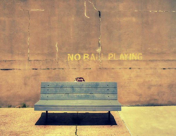Photograph - Empty Bench And Warning by Gary Slawsky