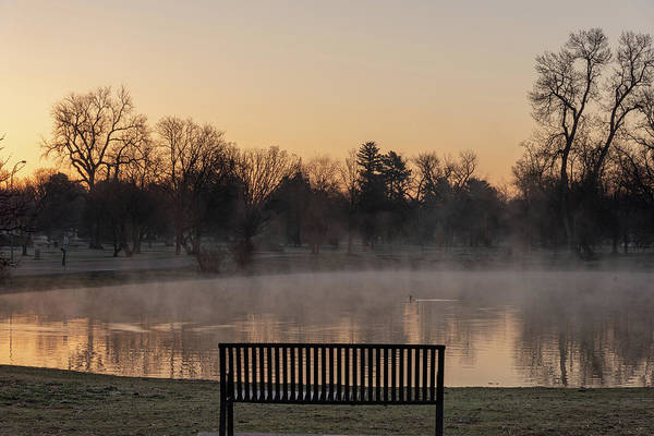 Photograph - Empty Bench At Misty City Park Lake by Philip Rodgers