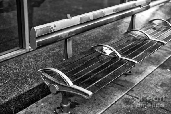 Wall Art - Photograph - Empty Bench In Gastown Mono by John Rizzuto