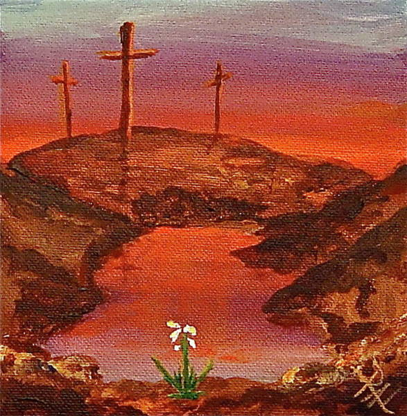 Desolation Painting - Empty Crosses And New Hope by R Allan Lister