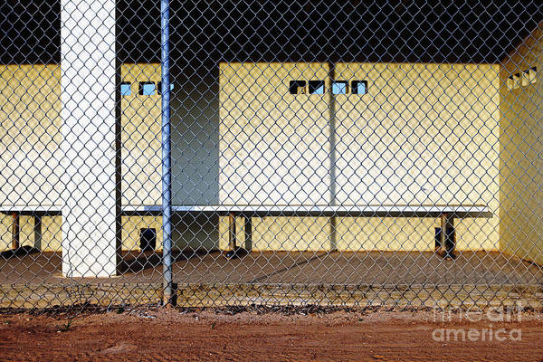 Chain Link Photograph - Empty Dugout by Skip Nall