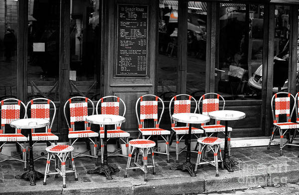 Wall Art - Photograph - Empty Montmartre Cafe Fusion by John Rizzuto