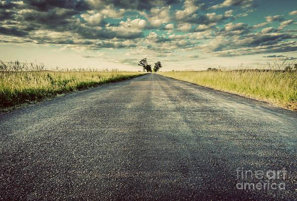 Straight Ahead Wall Art - Photograph - Empty Straight Long Asphalt Road. Concepts Of Travel, Adventure, Destination, Transport Etc. by Michal Bednarek