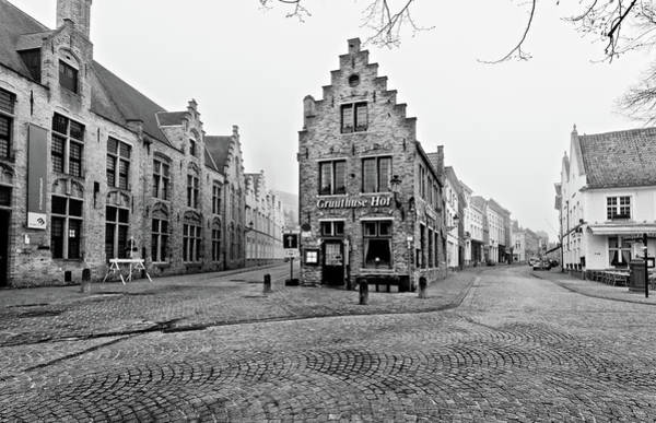 Photograph - Empty Streets In Bruges On A Misty Morning by Barry O Carroll