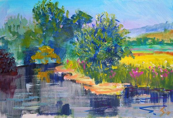 Mixed Media - En Plein Air River Exe Painting by Mike Jory