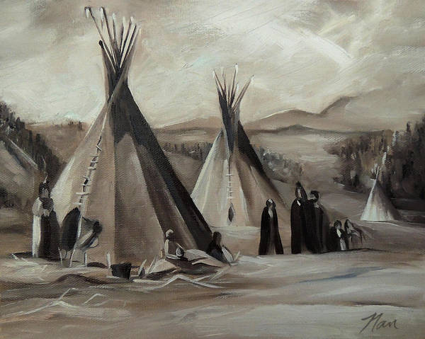 Painting - Encampment Of The Shoshone by Nancy Griswold