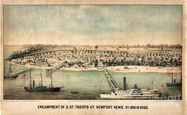 Wall Art - Painting - Encampment Of Us Troops At Newport News by Celestial Images
