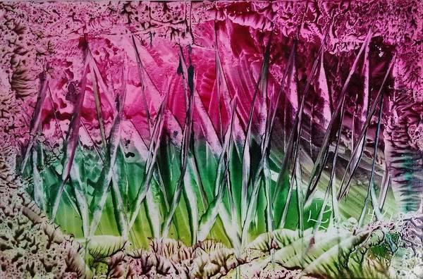 Encaustic Abstract Pinks Greens Art Print