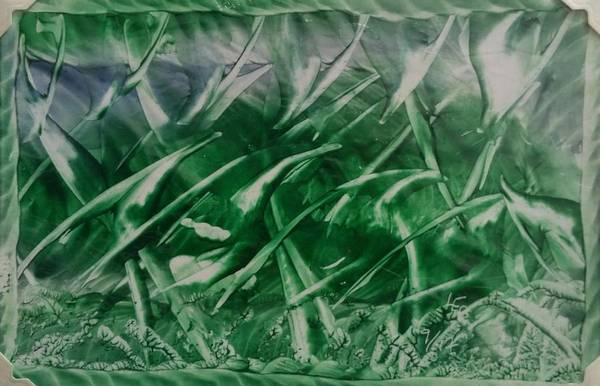 Encaustic Green Foliage With Some Blue Art Print