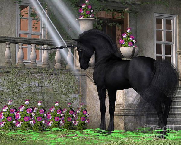 Unicorn Horn Digital Art - Enchanted Dark Unicorn by Corey Ford