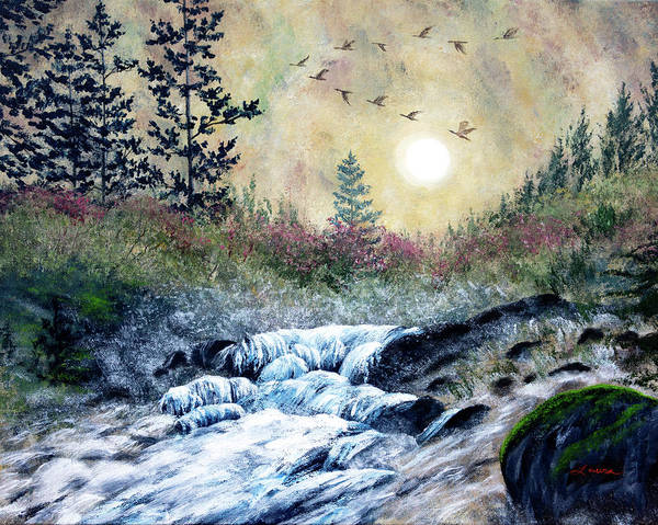 Wall Art - Painting - Enchanted Evening At Alsea Falls by Laura Iverson