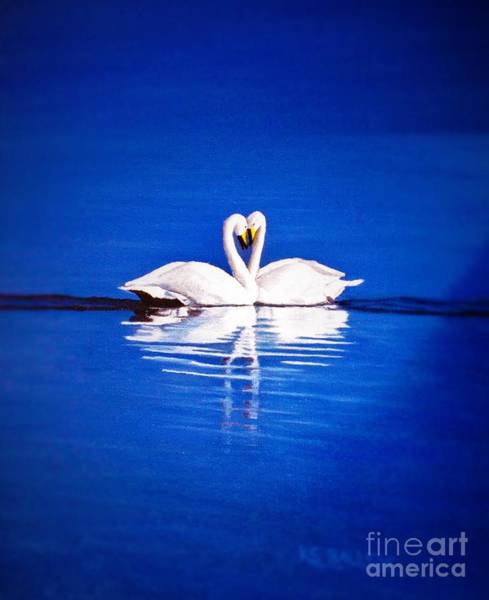 Trumpeter Swan Painting - Enchanted Evening by KS Ballew