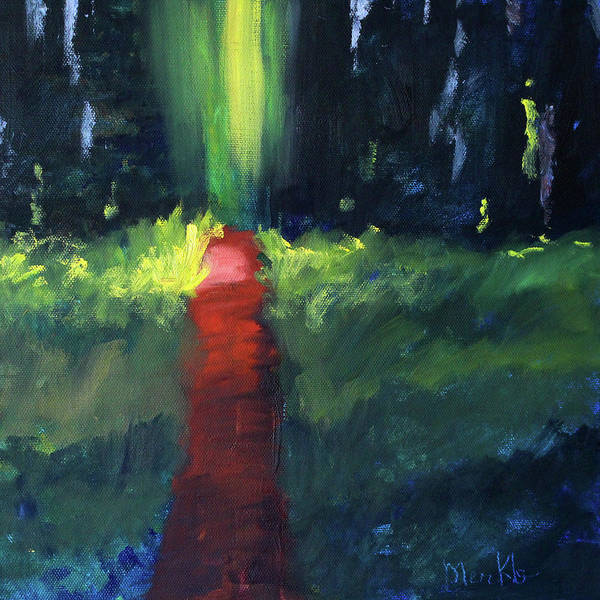 Semi Abstract Painting - Enchanted Forest by Nancy Merkle