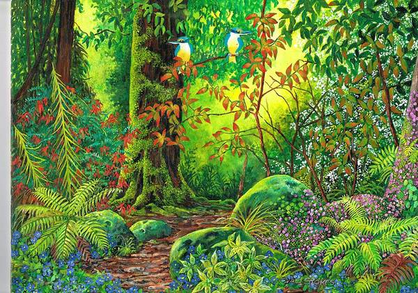 Painting - Enchanted Forest by Val Stokes