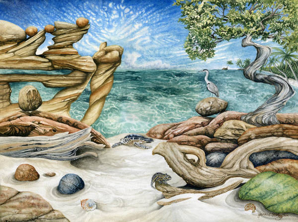 Driftwood Painting - Enchanted Lagoon by James Stanley