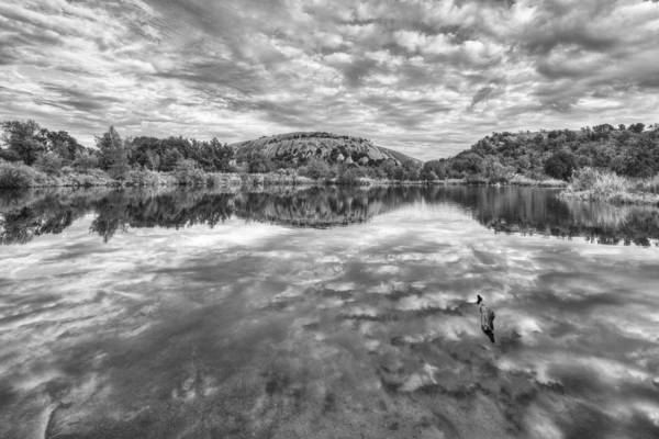 Enchanted Rock State Park Photograph - Enchanted Rock Autumn Skies Black And White 2 by Rob Greebon