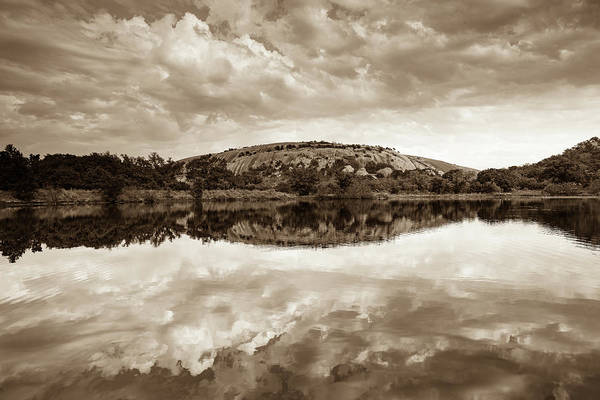 Wall Art - Photograph - Enchanted Rock On A Cloudy Day -sepia - Texas by Ellie Teramoto
