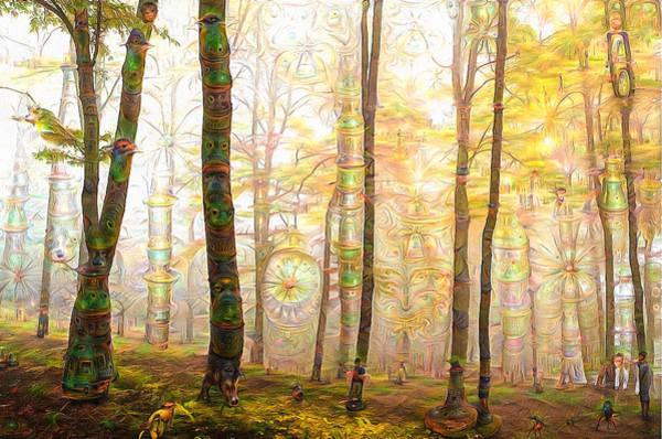 Digital Art - Enchanted Surreal Deep Dream Forest by Matthias Hauser
