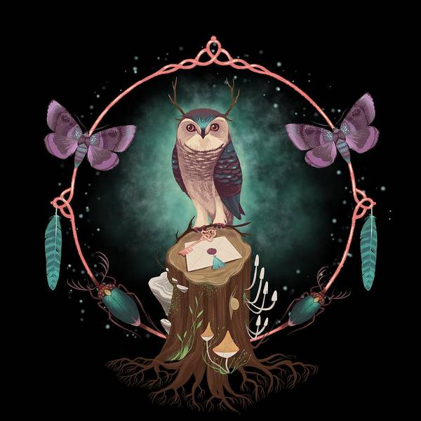 Wall Art - Painting - Enchanted Woodland Secret Keeper And Dream Catcher Art Print by Little Bunny Sunshine