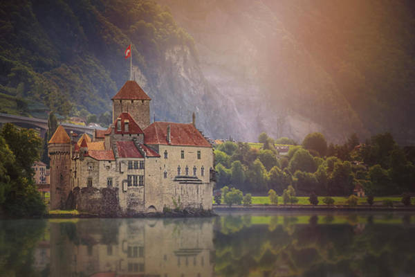 Lemans Wall Art - Photograph - Enchanting Chateau De Chillon Montreux Switzerland  by Carol Japp