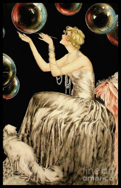 Wall Art - Painting - Enchanting Whimsical French Art Deco Woman Fashion Illustration by Tina Lavoie