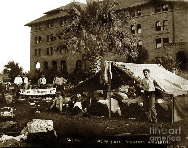 Photograph - Encina Hall Residents Camp Outside Following The San Francisco E by California Views Archives Mr Pat Hathaway Archives