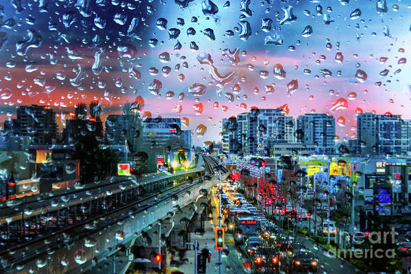 Metro Vancouver Wall Art - Photograph - Sunset In The City After The Rain With Drops Of Water On The Windowpane by Viktor Birkus