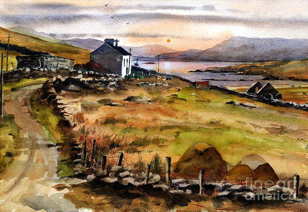 Painting - End Of The Road, Inishboffin. Galway by Val Byrne