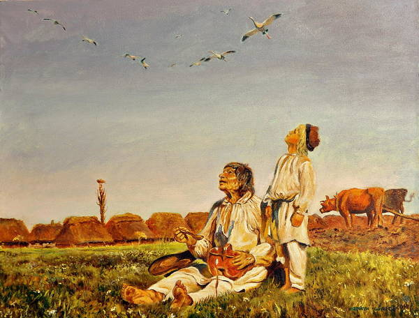 Umber Painting - End Of The Summer- The Storks by Henryk Gorecki