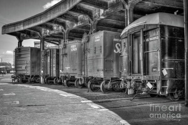 Roundhouse Photograph - End Of The Track B W Roundhouse Train Cars Central Of Georgia Rail Road Art by Reid Callaway