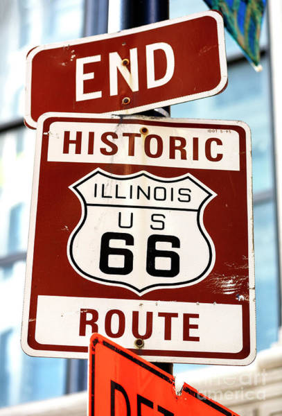Photograph - End Route 66 Sign Chicago by John Rizzuto