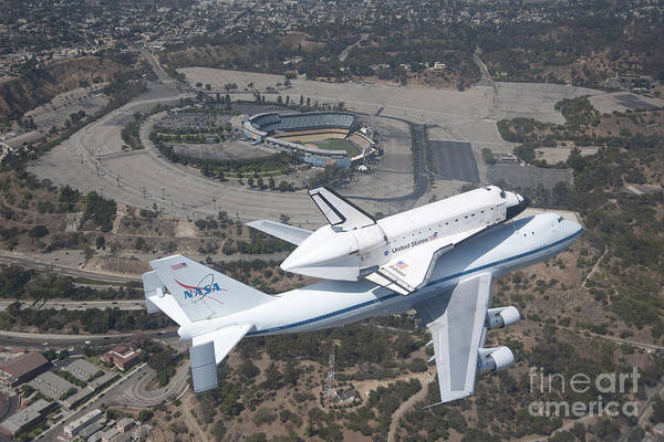 Space Shuttle Painting - Endeavor Over Dodger Stadium by Pd