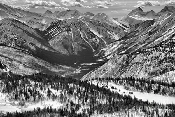Photograph - Endless Peaks As Sunshine Valley Black And White by Adam Jewell
